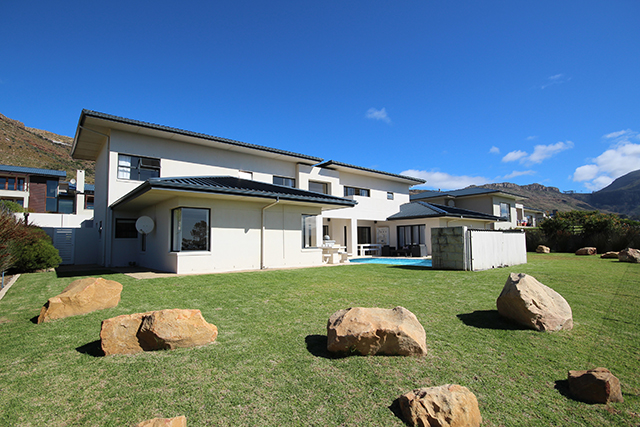 Front garden view with boulders